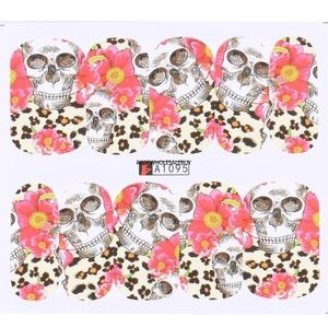 Skull floral romatic goth nail decals